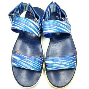 Kenzo Strappy Sandals Flatform Leather Blue Stripe